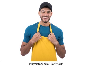 portrait of a male vendor posing and holding his apron. Isolated on white background.
