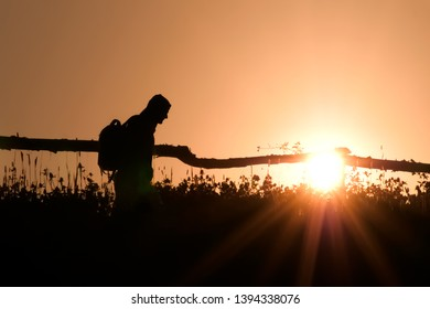 Portrait of an man with backpack on backlight background. Rural scene on blacklight. Silhouette of young tourist in village going with backpack on green summer morning. Copy space