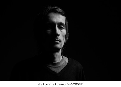 portrait of a man. black and white photography
