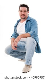 portrait of a man in casual jeans isolated on white