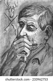 Portrait of a man with cigarette. Charcoal drawing