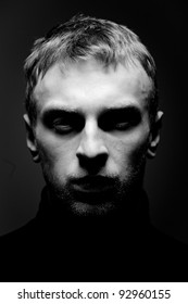 Portrait of a Man. Close up. Studio shot.