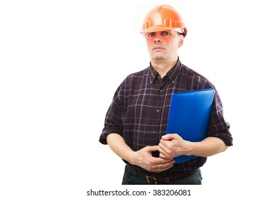 Portrait of a man construction builder in helmet isolated on white background.