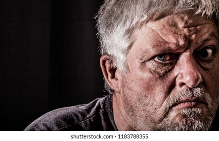 Portrait of a man with expressionless face expression