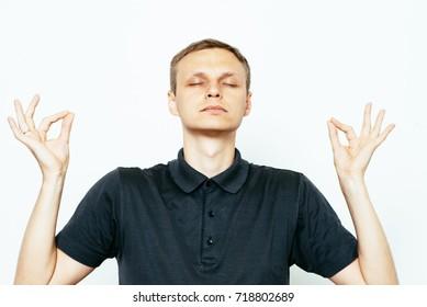 Portrait  man, eyes closed, in meditation