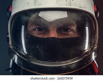 Portrait of a man in firefighter helmet.