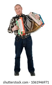 Portrait of a man, grandfather playing the accordion. Isolated on white background.