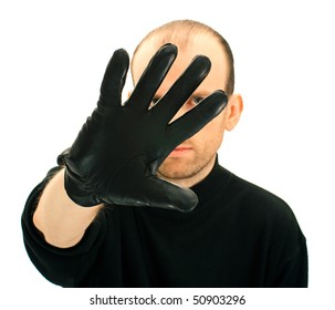 Portrait of a man hiding his face, isolated on white background