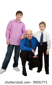 portrait of the man with his sons isolated on white background