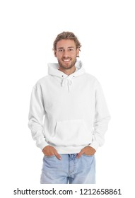 Portrait of man in hoodie sweater on white background. Space for design