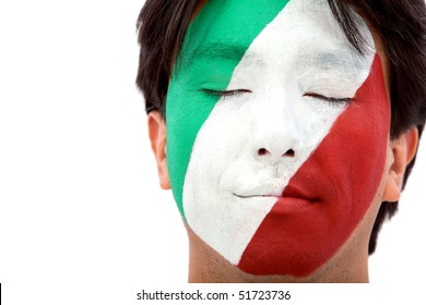 Portrait of a man with the italian flag painted on his face isolated over white