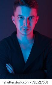 portrait of a man in neon light (soft light)