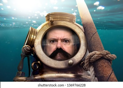 Portrait of man in old diving suit and helmet under water. Funny diver in retro equipment .
