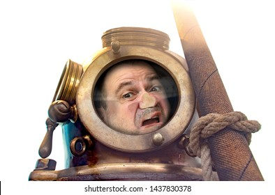Portrait of man in old diving suit and helmet, isolated on white background. Funny diver in retro equipment with face crushed on glass.