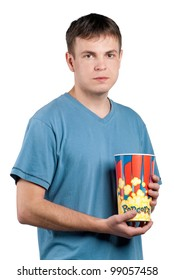 Portrait of man with popcorn on isolated white background