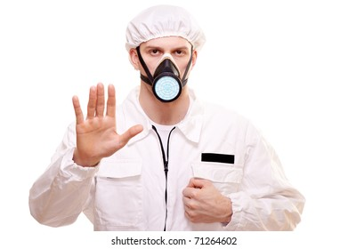 Portrait of a man in protective wear