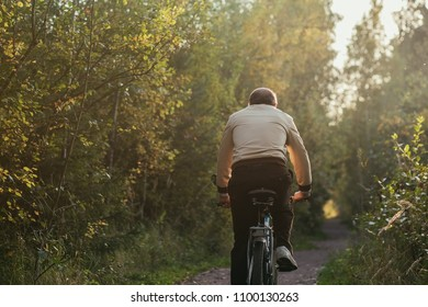 Portrait of man riding cycle in countryside. Back side view