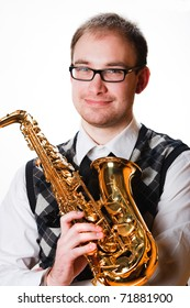 portrait of a man with a saxophone