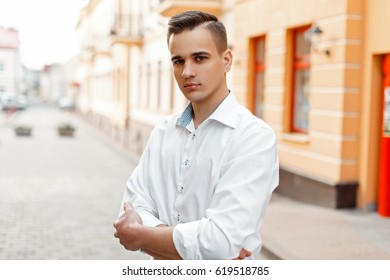 Portrait of a man in a shirt, outdoor