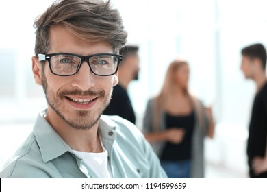 Portrait of man smiling in glasses