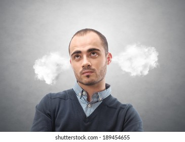 Portrait of a man with steam from his ears