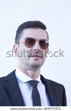 87882750b70 Portrait Man Suit Sunglasses Stock Photo (Edit Now) 684979453 ...