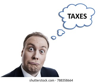 portrait of a man is surprised about taxes with a cloud isolated