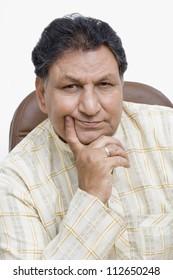 Portrait of a man thinking