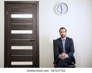 Portrait of a man waiting for a job interview