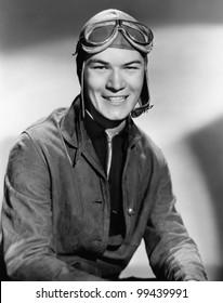 Portrait of man wearing flight gear