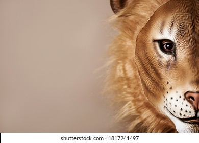 portrait of a man wearing a lion mask against a beige background with some blank space on the left