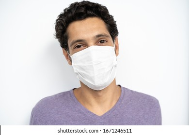 portrait of a man wearing protection face mask against coronavirus