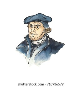 Portrait of Martin Luther, Watercolor Illustration (1483-1546) the key person in Protestant Reformation, 500th Anniversary