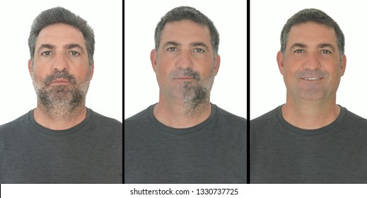 Portrait of mature adult man stages of growing a bear by  stop shaving for a few days.