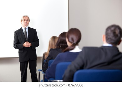 Portrait of a mature business man giving business training at a modern office