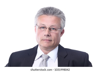 Portrait of a mature business man  isolated on white.
