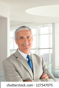 Portrait of a mature businessman wearing a light tan suit with his arms folded in a modern office setting. Vertical format, with the man smiling.