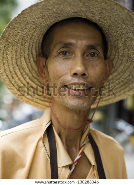 Portrait Mature Chinese Man Wearing Traditional Stock Photo (Edit
