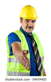 Portrait of mature construction engineer with protective waistcoat and hard hat give handshake isolated on white background