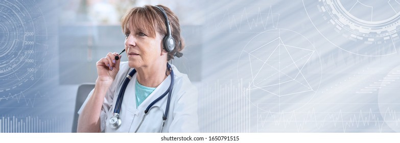 Portrait of mature female doctor during online medical consultation; panoramic banner