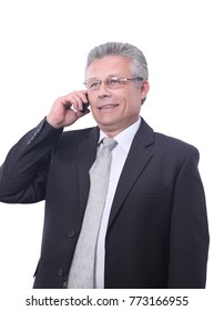 Portrait of a mature gray-haired  business man calling.
