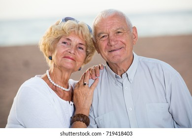 portrait of mature happy couple man and woman on nature