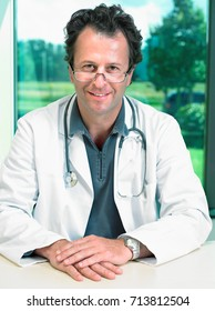 Portrait of mature male doctor.