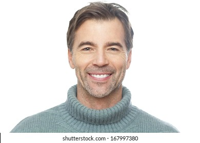 Portrait Of A Mature Man Smiling At The Camera Isolated On White