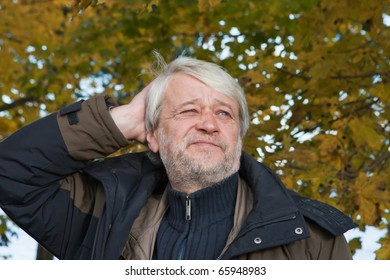 Portrait of mature thoughtful man with grey hair in autumn day.