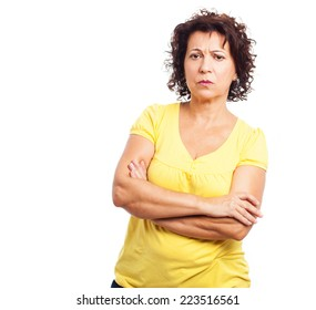 portrait of a mature woman frustrated and sad