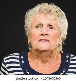 Portrait Of Mature Woman Isolated On Black Background