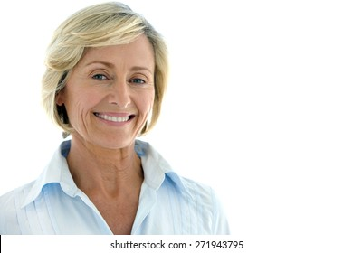 Portrait of a mature woman over white background with copy space