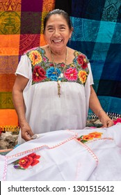 Portrait of a Mayan woman in Yucatan Tailor specializing in embroidery clothing