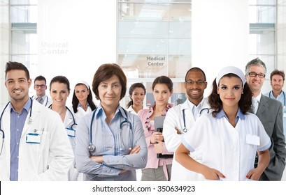 Portrait of medical center team, doctors, nurses.